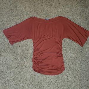 Body Central Orange Ruched sides top Size medium